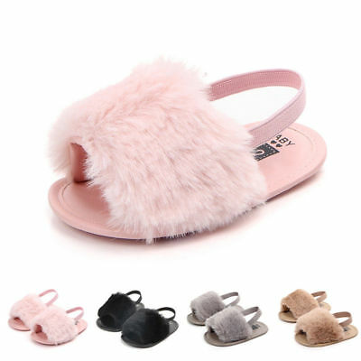 UK Cute Toddler Baby Girl Princess Fluffy Fur Sandals Slippers Crib Shoes 0-18M