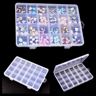 Empty Storage Rhinestone Jewel Gem Box Case for Nail Art Tips Container H0529