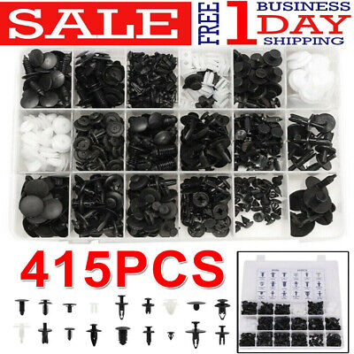 415Pcs Plastic Car Door Trim Clip Bumper Rivets Screws Panel Push Fastener Kit E
