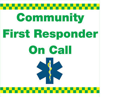 Community First Responder Magnetic Graphic sign for Car Or Van x1. 300x300mm