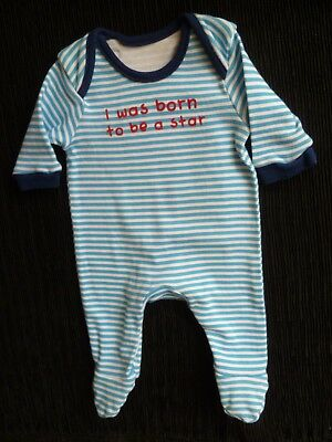 Baby clothes BOY premature/tiny<6lbs/2.7kg blues/navy stripe babygrow SEE SHOP!