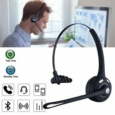Bluetooth Headset Wireless Headphones With Mic Handsfree For Car Truck Driver AU