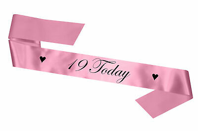 Personalised Birthday Sash Any Age 19 Today Baby Pink Gift 17 18 21 30 Party