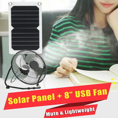 "10W Solar Panel and 8"" Fan 5V USB Iron Powered Charger Outdoor Home Cooling Gift"