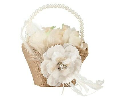 Rustic Country Wedding Burlap, Lace and Pearl Flower Girl Basket