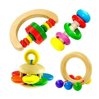 BL_ Cute Baby Kids Colorful Wooden Rattle Toy Handbell Musical Education Bell To