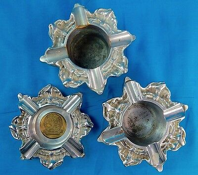 Set of 3 Vintage 1949 post WW2 US Navy Naval Gun Factory Trench Art Ashtray