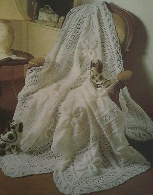 Vintage Knitting Pattern Baby Shawl Cot Blanket In Dk Double