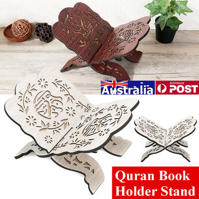 AU Wine Red/White Wood Quran DIY Book Holder Stand Rihal Rehal Decor Stand