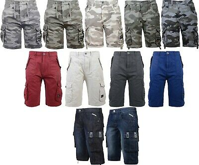 Neuf Hommes crosshatch Toile Cargo / Jeans / Short Camouflage avec Poches Taille