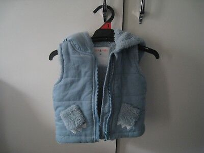 JACK & MILLY 'Buddy' cord hooded vest with teddy fleece lining in blue SIZE 00