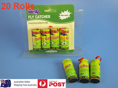 20 Rolls Flies Insect Bug Fly Glue Paper Catcher Trap Ribbon Strip Sticky Tape