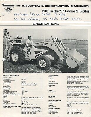MF Industrial & Construction Machinery 2203 Tractor 207 Loader 220 Backhoe spec
