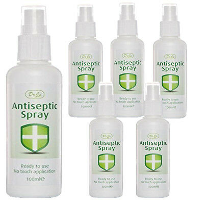 6 X Dr J's Johnson Antiseptic Spray Ready To Use No Touch Application 100ml