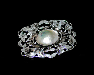 Stunning Victorian/Nouveau Sterling Abalone Maple Leaf Seed Pod Brooch Antique
