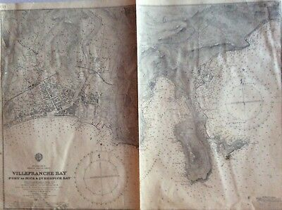 Vintage Nautical Chart Ville Franche Bay , May 10 1909