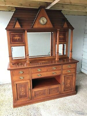 Stunning Rare Antique Edwardian Inlaid Mahogany Architectural Dresser /Sideboard