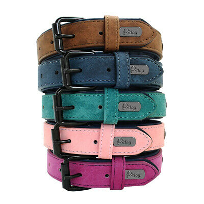 Dog Collar Leather Soft Padded for Small Large Dogs Husky Rottweiler S-2XL