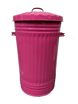45L Metal Hot Pink Bin, Waste Bin, Retro, Vintage, Dustbin, Horse Pet Feed Trash