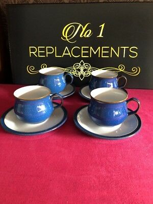 4 x Denby Imperial Blue Tea Cups And Saucers Last 2 Sets Available
