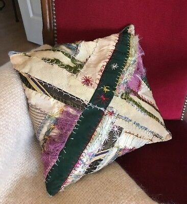 """Vintage Handmade Boho HIPPIE Style Pillow Patchwork w/Embroidery 13"""" Square"""
