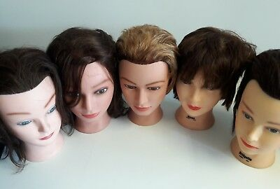 Lot of 5 Mannequin Heads Cosmetology Mannequin Hair Male and Female