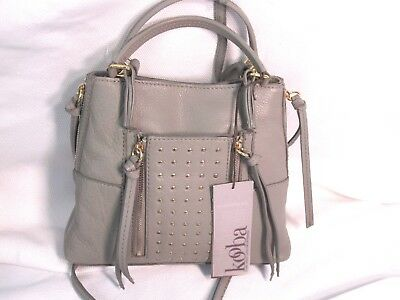 KOOBA Mini Everette Concrete Grey Crossbody Gold Stud Leather Satchel Bag   198 dc9bba67c5