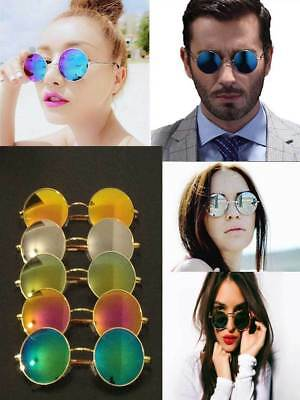 Unisex Round Mirror Vintage Style Circular Round Sunglasses Fast UK Shipping