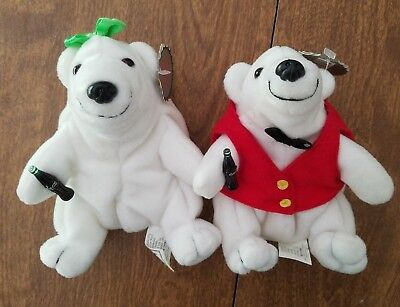 """Coca Cola Bean Bag Plush Lot of 2 Mr and Mrs With Tags! 7"""" Plush Lot of 2"""