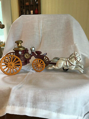 Vintage Replica Two Horse Drawn Wagon/Cast Iron Steam Fire Pumper NO Driver