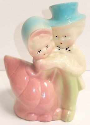 American Bisque Figural Planter Vase Girl Boy Couple Top Hat Pink Blue