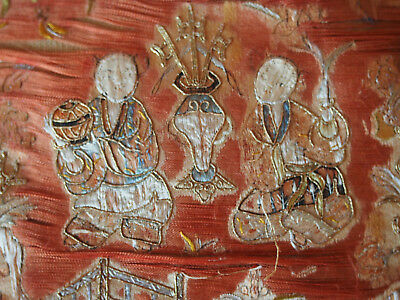 Antique Chinese Hand Embroidery Metallic Gold Monks Figure Orange~on Vtg Pillow