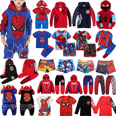 Baby Kids Boys Spider-man Sweatshirt Sport Tracksuits 2pcs Outfit Set Hoody Top