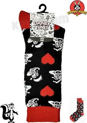 *NEW* Genuine Looney Tunes™ 'Pepe Le Pew' Crew Tube Socks Black Red Hearts Skunk