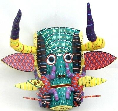 Mexican Wood Hanging Mask Folk Art Handmade Collectible Home Decor Colorful Bugs