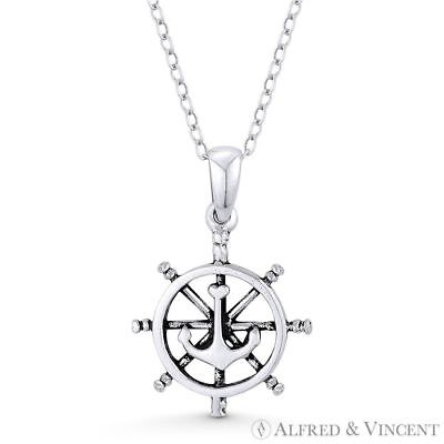 Ship's Helm & Anchor Sailor's Luck Charm .925 Sterling Silver Pendant & Necklace