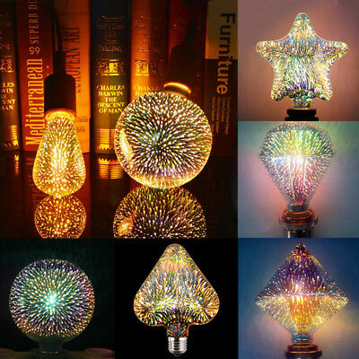 E27 LED Lights Bulbs 3D Fireworks Decorative Edison Colorful Party Holiday Lamps