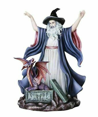 Mighty Wizard Summoning Dragon Fantasy Figurine 10.5 Inch Tall Resin Sculpture