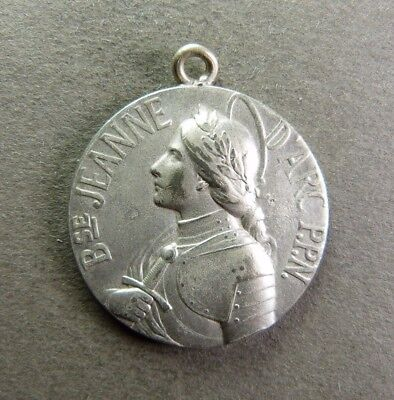 1909 joan of arc silver medal pendant 1412 1431 maid of orleans french antique religious large pendant saint joan of arc jeanne darc aloadofball Gallery