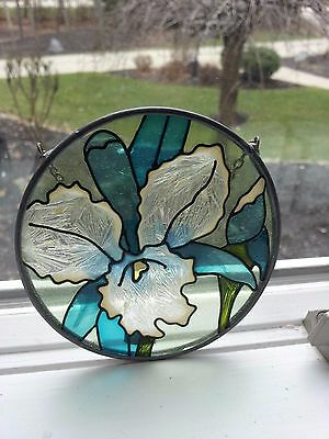 "Orchid Stain Glass Sun Catcher Round Glass 3-1/2"" Flowers"