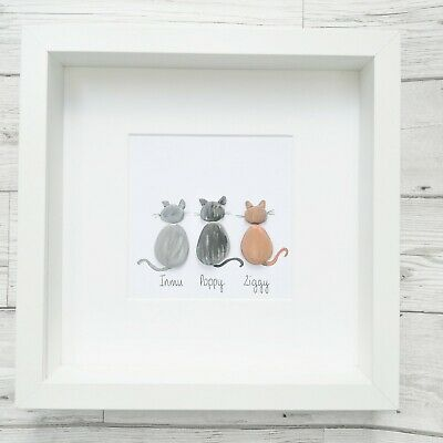 Pebble Art Picture Dogs Pet Lover Cats Personalised Handmade Framed Birthday