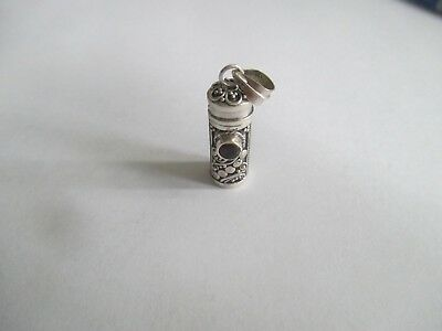 Poison Bottle with Faceted Garnet Round.STERLING SILVER..New
