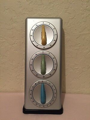 """Retro Kitchen Triple Wall Hanging Cooking Timer Silver Yellow Green Blue 10"""""""