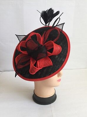 Red & Black Headband & Clip Hat Fascinator Weddings Ladies Day Race Royal Ascot
