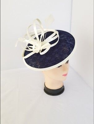 Navy & Cream Headband & Clip Hat Fascinator Weddings LadiesDay Race Royal Ascot
