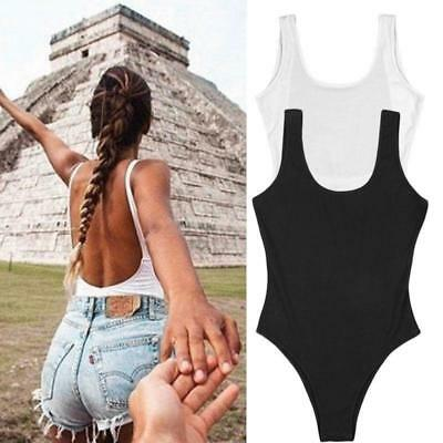 Women's  Sleeveless Bodysuit Leotard Top Blouse Stretch T-shirt Jumpsuit Rompers