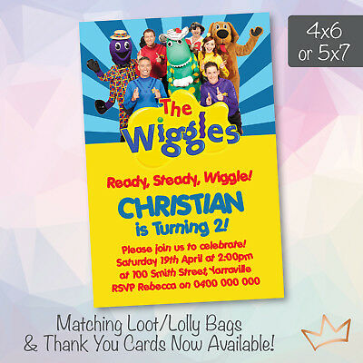 Personalised The Wiggles Birthday Invitations Party Invites 1 00