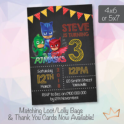 Personalised PJ Masks Birthday Party Invitations Invites