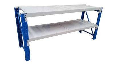 2m(L)0.9m(H) METAL STEEL WORKSHOP SHELVING WAREHOUSE STAND WORK BENCH 3-6920BG