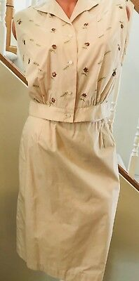 Vintage Donnkenny 1950's Ivory Sleeveless 2 Pc Ivory Summer Outfit Suit Size 16